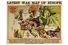 1870 WAR MAP OF EUROPE FRENCH PERSPECTIVE POSTER geopolitical satirical 24X36