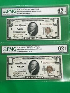 2 Consecutive serial $10 1929 FRBN New York PMG 62 EPQ 1860-B NATIONAL CURRENCY