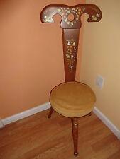 VINTAGE MID CENTURY CHAIR YELOW GOLD VELVET CHAIR STOOL 3 LEGS