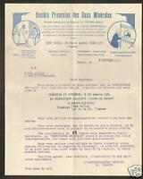 PARIS IX° / SOCIETE FRANCAISE DES EAUX MINERALES en1929