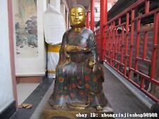China Bronze Gilt Cloisonne Xuan Wu Taoism Taoist priest ancestor Buddha Statue