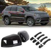 Black Mirror Covers + Door Handle Covers For Jeep Grand Cherokee/ Dodge Durango