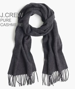 J.CREW 100% pure cashmere scarf muffler wrap solid dark grey charcoal gift NWT