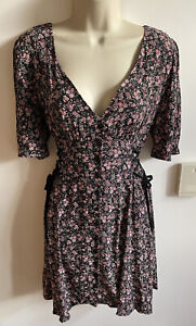 New Stunning Topshop Size 12 Corset Floral Ditsy Tea Dress Tie Side Vtg Button