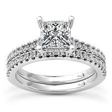 Solitaire Set 2.60 Carat Princess Diamond H/VS2 Engagement Ring 14K Enhanced