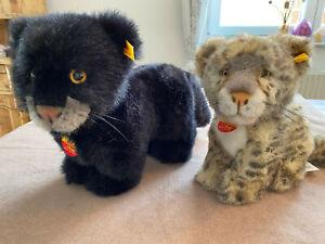 Steiff Tiere alt Panther Taky und Schneeleopard Snobby Baby top unbespielt