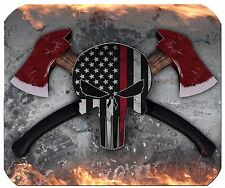 Punisher Thin Red Line Mouse Pad - American Flag Mouse Pad - Firemen
