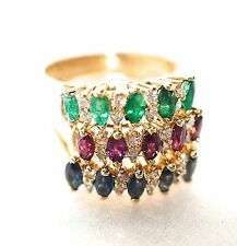 Vintage Ruby, Sapphire, Emerald & Diamond Trios Rings Matching Set