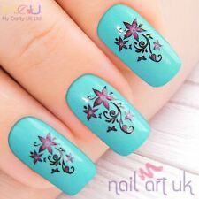 Purple Flower Water Decal Nail Art Stickers