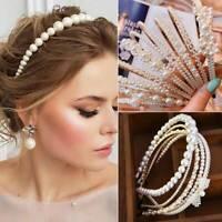 Women's Pearl Headband Hair Clips Bride Tiara Alice Hair Band Wedding Headwear