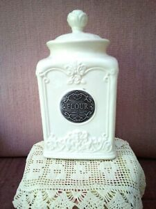THL Classic French Rose Top FLOUR Canister Summer Home Kitchen Decor