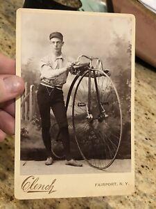 Rare Victorian Cabinet Card Photo Man & High Wheel Bicycle Bike