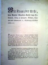 FRANZ JOSEPH I., Kaiser von Österreich König.Erlaß zu Illyrische Provinzen 1814