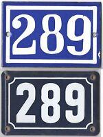 Old blue French house number 289 door gate plate plaque enamel steel metal sign