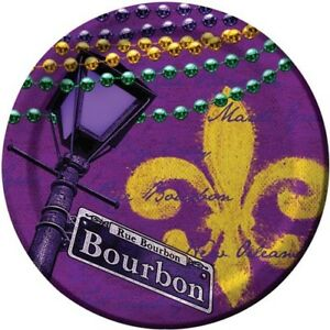 Rue Bourbon 9 Inch Paper Plates 8 Pack Mardi Gras Tableware Party Supplies
