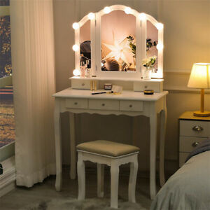 Makeup Dressing Table Vanity Set Desk Stool Kit With Mirror 10 Led Lights White