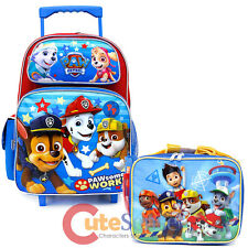 """Paw Patrol School Roller Backpack 16"""" Large Rolling Lunch Bag 2pc Set - Paw Work"""