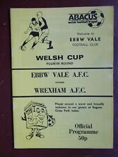 1988/89 Ebbw Vale A.F.C v Wrexham A.F.C Welsh Cup 4th Rd Football Programme