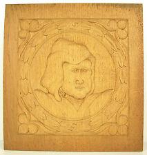 Profil de femme coiffée Bas-relief en bois sculpté carved wooden panel 30cm