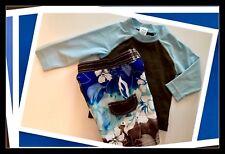 NWT 12-18 Months Gymboree L/S RASH GUARD Arizona SWIM TRUNKS Blue/Brown UPF 50+