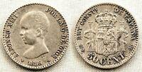 SPAIN-Alfonso XIII. 50 centimos 1889*8-9. Madrid. EBC-/XF- Plata 2,5 g. ESCASA
