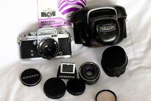 MIRANDA SENSOMAT RE 35mm SLR CAMERA + 50mm LENS, 2X CONVERTER+OTHER EXTRAS c1970