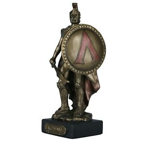 LEONIDAS Greek Spartan King Warrior w/Sword Statue Figure Bronze Finish 4.72inch