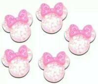 6PC Sprinkle Filled Minnie Mouse - Resin Flatback Hair Bows Cards DIY Crafts