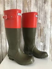 HUNTER Original Color Block Olive Green Orange Rain Boots UK 4 US 6 EU 37 RARE*