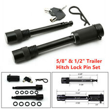 "Heavy Hitch Lock Pin Set Locking Trailer Tow Receiver For 5/8"" & 1/2"" Diameter"