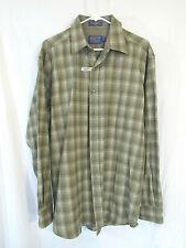 New Pendleton Shirt Mens Large Long,  Long Sleeve button Wool green brown plaid