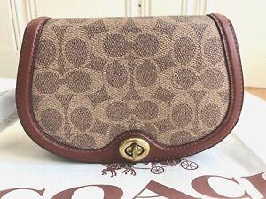 NWT COACH 76264 Brown Belt Bag Signature Saddle TAN/RUST Handbag