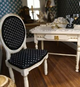Miniature Dollhouse black Vanity With chair 1:12 Scale New furniture french
