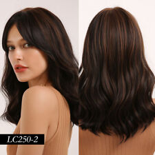 EASIHAIR Ombre Black Brown Wave Midium Lenght Synthetic Wigs Hair for Women Wig