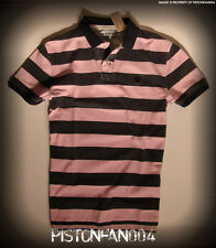 American Eagle Mens Pink & Navy Sunwashed Striped Pique Polo Shirt XXL NWT