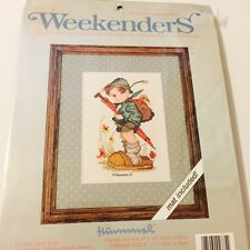Looks Like Rain Hummel design counted cross stitch kit, includes mat for framing