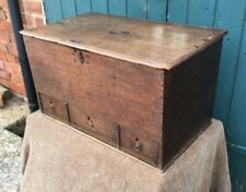 Antique Georgian Regency Period Carved Oak Rustic Box (Chest Trunk Bible Box)