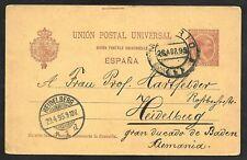 Spain Postal Card Madrid to Heidelberg, Germany, Cover 1895