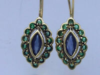 CE243 Genuine 9ct Yellow Gold Natural Sapphire & Emerald Drop Earrings Hook