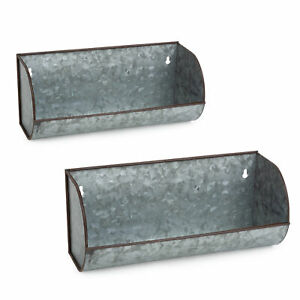 Design Imports DII Galvanized Metal Wall Mounted Farmhouse Trough Shelf (Set ...