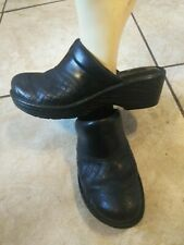 Born Black Leather Wedge High Heel Mule Clog Shoes Slip On Womens Size 8 / 39