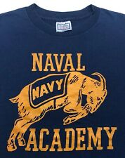 Vintage Mens M 80s United States US Navy Naval Academy Military Blue T-Shirt