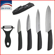 5 Piece Sharp Kitchen Ceramic Knife Set Chef's Cutlery with Sheaths and Peeler