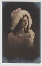 POSTCARD - children, pretty young girl in feather trimmed hat