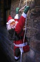 CLIMBING  SANTA WITH ROPE LADDER! INDOOR/ OUTDOOR CHRISTMAS DECORATION 55cm