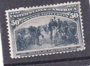 US 240 50c vivid blue Columbian mint regum 1893 ,4 margins clean $200
