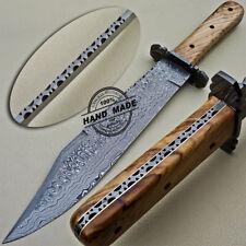 Hermosos personalizado hecho a mano cuchillo machete caza De Acero Damasco | Madera De Olivo Handl