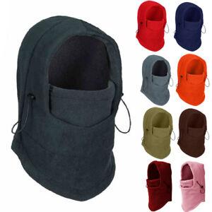 Mens Womens Thermal Fleece Balaclava Hood Neck Mask Hat Casual Windproof Ski Cap