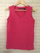 Savannah Women's Sleeveless 100% Silk Top Pink and White Polka Dot Size M Career