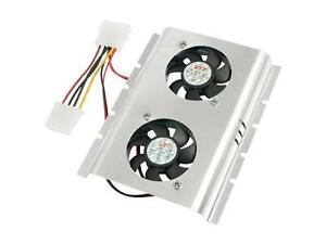 "2X SILVER 3.5"" Hard Drive Disk HDD 4 Pin Cooling Fan Cooler Radiator PC SATA IDE"